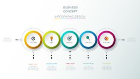 O projeto da etiqueta do círculo de Infographic 3D do vetor com setas assina e 5 opções ou etapas Foto de Stock
