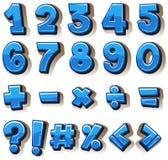 O projeto da fonte para números e assina dentro o azul ilustração stock