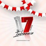 17o projeto de August Indonesian, do cartaz ou da bandeira com fla da estamenha Foto de Stock Royalty Free