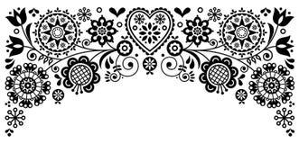 O projeto de cartão retro do vetor da beira do quadro da arte popular, ornamento preto e branco floral inspirou pela arte escandi Imagens de Stock Royalty Free