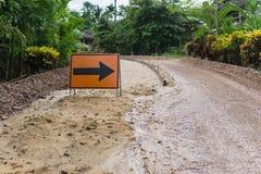 O projeto de construção de estradas rural foto de stock