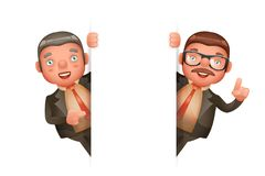 O projeto de personagem de banda desenhada realístico bonito do canto 3d de Man Look Out do homem de negócios isolou a ilustração Imagens de Stock Royalty Free