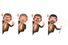 O projeto de personagem de banda desenhada realístico bonito do homem 3d de Look Out Corner do homem de negócios isolou ilustraçã Fotos de Stock Royalty Free