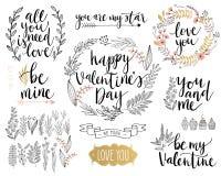 O projeto de rotulação do dia do ` s do Valentim ajustou-se - entregue tirado ilustração do vetor