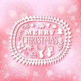 O projeto de rotulação do Natal no bokeh ilumina o fundo Cartão dos feriados de inverno Fotografia de Stock Royalty Free