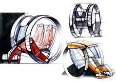O projeto do esboço é um projeto compacto exclusivo do carro bonde para a cidade fotografia de stock royalty free