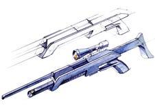 O projeto do esboço é um projeto de um rifle de pouco peso versátil moderno Fotos de Stock
