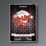 O projeto do inseto do partido do vetor em um tema do casino com cartões de jogo e corta no fundo escuro Foto de Stock Royalty Free