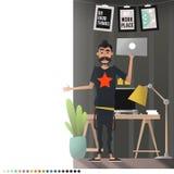 O projeto do local de trabalho Homem dos desenhos animados no seu sonho do escritório Imagem de Stock