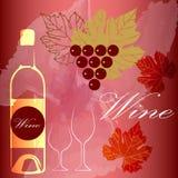 O projeto do menu do conceito do vidro de vinho, uvas para vinho projeta o fundo do menu Imagem de Stock Royalty Free