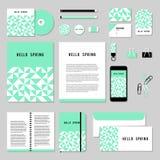 O projeto do molde dos artigos de papelaria do vetor com rombo e o quadrado dão forma Imagens de Stock Royalty Free