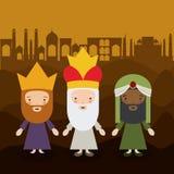O projeto dos desenhos animados de três wisemen Imagens de Stock Royalty Free