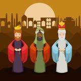 O projeto dos desenhos animados de três wisemen Imagem de Stock