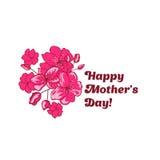 O projeto feliz da bandeira do dia de mãe com sakura cor-de-rosa floresce Foto de Stock