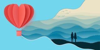 O projeto feliz da ilustração do vetor da tipografia do dia de Valentim com o origâmi vermelho da forma do coração do corte de pa ilustração stock