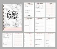O projeto imprimível com listas de verificação, data importante do planejador do casamento, nota etc. ilustração do vetor