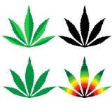 O projeto liso da folha do cannabis ajustou-se - Vector a ilustração ilustração stock