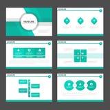 O projeto liso dos elementos verdes de Infographic dos moldes da apresentação do tom ajustou-se para o mercado do folheto do inse Imagens de Stock Royalty Free