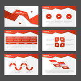 O projeto liso dos elementos vermelhos de Infographic do molde da apresentação do sumário do polígono ajustou-se para o mercado d Foto de Stock