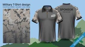 O projeto militar do t-shirt do polo, com cópia da camuflagem veste-se para a selva, caminhando trekking ou caçador, arquivo do v ilustração stock