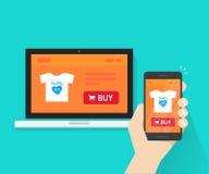 O projeto responsivo da loja do Internet, página em linha da site da loja mostrou no portátil e no smartphone à disposição, loja  ilustração stock