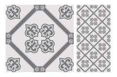 O projeto sem emenda antigo do vintage modela telhas na ilustração do vetor Imagens de Stock