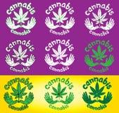 O projeto textured decorativo da folha do cannabis carimba com símbolo da pomba Fotografia de Stock