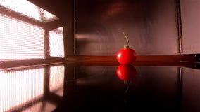 O projetor ilumina acima a queda de um tomate no movimento lento vídeos de arquivo