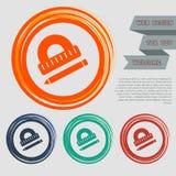 O prolongador, régua, ícone da pena nos botões vermelhos, azuis, verdes, alaranjados para seu Web site e no projeto com espaço te Fotos de Stock
