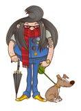 O proprietário com cabelo longo anda seu cão Fotos de Stock Royalty Free
