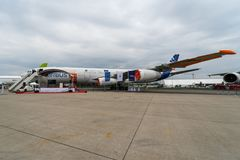 O protótipo dos aviões projeta o demonstrador laminar dos aviões de Breakthrouh da LÂMINA em Europa Airbus A340-300 MSN1 Foto de Stock
