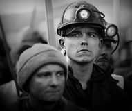 O protesto Ação-da greve de mineiros Silesian Imagem de Stock