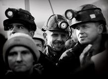 O protesto Ação-da greve de mineiros Silesian Fotos de Stock Royalty Free