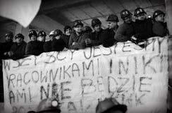 O protesto Ação-da greve de mineiros Silesian Imagens de Stock Royalty Free