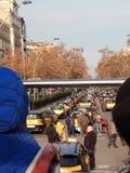 O protesto dos taxistas em Barcelona fotos de stock royalty free