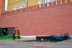 O protetor de honra, Moscovo no túmulo do desconhecido Fotografia de Stock Royalty Free