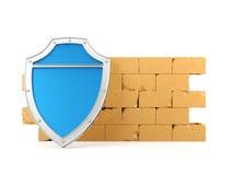 O protetor e a parede, 3D rendem Fotografia de Stock