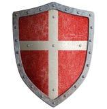 O protetor medieval do metal do ` s do cruzado com cruz branca isolou a ilustração 3d ilustração stock