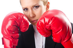 O pugilista da mulher isolou-se Imagem de Stock Royalty Free