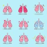 O pulmão dos desenhos animados faz a emoção diferente Imagens de Stock