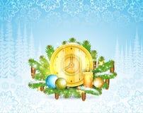 O pulso de disparo com velas está em ramos de árvore nevado do abeto Fundo horizontal do Natal ilustração do vetor
