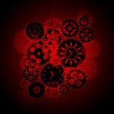 O pulso de disparo de tempo engrena Clipart no fundo vermelho Imagem de Stock Royalty Free