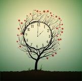 O pulso de disparo do verão, hora de florescer, árvore olha como o pulso de disparo com flores vermelhas, ilustração royalty free