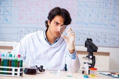 O químico novo que trabalha no laboratório fotografia de stock royalty free