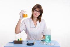 O químico obteve um grande resultado para a experiência Foto de Stock Royalty Free
