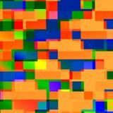 O quadrado abstrato dá forma ao fundo Linhas arte Tema engraçado do partido Espaço do tijolo Grupo decorativo pequeno da caixa Es Fotos de Stock Royalty Free