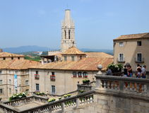 O quadrado da catedral de Girona durante o festival anual da flor Imagem de Stock Royalty Free