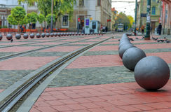 O quadrado da rua da liberdade em Timisoara foto de stock