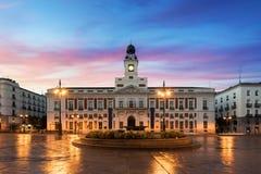 O quadrado de Puerta del Sol é o espaço público principal no Madri No arquivo de foto de stock royalty free