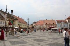 O quadrado grande (Piata Mare), Sibiu Imagens de Stock Royalty Free